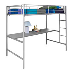 Walker Edison - Twin/Workstation Bunk Bed - Silver - Stylish, contemporary design. Durable metal frame supports 250 lbs.. Support slats included, no box spring needed . Does NOT include mattresses or bedding. Attractive, silver powder-coated finish. Spacious work area. Conforms to the latest consumer product safety standards. Ideal for space-saving needs. Maximum recommended upper mattress thickness of 6 in.. Ships ready-to-assemble with necessary hardware and tools. Assembly instructions included with toll-free number and online support. Dimensions: 79 in.  W x 42 in.  D x 71 in.  H(104 lbs. ). Bunk Bed Warning. Please read before purchase.. NOTE: ivgStores DOES NOT offer assembly on loft beds or bunk bedsThis simple, yet contemporary twin-over-workstation bunk bed conveys chic style with its clean lines and the sturdy, metal-crafted frame promises stability and function. Designed with safety in mind, this bed includes full length guardrails and an integrated ladder. This bed is ideal for space-saving needs with a full working area and convenient shelving below the loft.