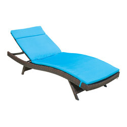 Great Deal Furniture - Lakeport Outdoor Adjustable Chaise Lounge Chair w/ Colored Cushion, Blue - Add some stylish comfort to your patio decor with these wicker lounges. Complete with colored cushions to add a touch of fun to your outdoor space, these lounges will have you relaxing in style. The chaise lounge chair is weather-resistant and has an adjustable angle back and folding legs for easy stacking.