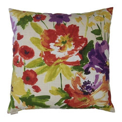 Silver Nest - Fresh Floral Down Pillow- 24x24 - These pillows are constructed of heavyweight, durable and quite stunning fabric. Unfortunately the fabric content and laundry care are not provided by the manufacturer. You will just have to trust us that you are going to fall in LOVE with this pillow! A feather down insert is included with each pillow so there is no need to go hunting around for the correct size insert. Pillows come packaged in a set of two- all ready to toss on the sofa, loveseat, chair, bed, floor… wherever you need that pop of color and design! Price is noted for a single pillow, however pillows must be sold in a set of 2.