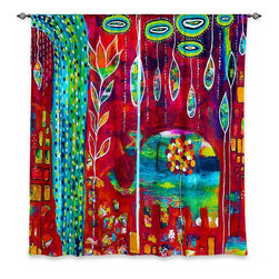 """DiaNoche Designs - Window Curtains Lined by Michele Fauss Elephants Eden - Purchasing window curtains just got easier and better! Create a designer look to any of your living spaces with our decorative and unique """"Lined Window Curtains."""" Perfect for the living room, dining room or bedroom, these artistic curtains are an easy and inexpensive way to add color and style when decorating your home.  This is a woven poly material that filters outside light and creates a privacy barrier.  Each package includes two easy-to-hang, 3 inch diameter pole-pocket curtain panels.  The width listed is the total measurement of the two panels.  Curtain rod sold separately. Easy care, machine wash cold, tumble dry low, iron low if needed.  Printed in the USA."""