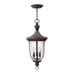 Hinkley Lighting - Hinkley Lighting Oxford Traditional Outdoor Hanging Light X-NM2421 - Beaded trim and a traditional urn finial add to the charming look of this Hinkley Lighting outdoor hanging light. From the Oxford Collection, the Midnight Bronze finish highlights the finer elements of the design while a clear optic glass shade and three lights ensure ample lighting from this traditional outdoor lighting fixture.