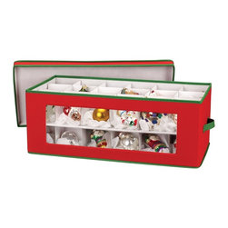 """Living Healthy Products - Holiday Ornament Storage Chest for 36-Piece, Red with Green Trim - Allow this Red Holiday 36 Ornament Chest with Green Trim keep your ornaments in perfect condition year after year. This strong and durable ornament chest features a clear window front for you to easily see what is stored, while the heavy-stock cardboard dividers are customizable to accommodate a wide array of ornament sizes - or finials - while keeping them protected. The top layer is a lift out tray which not only keeps ornaments in tact, but also allows for easy access to the lower tray. The chest is constructed of red poly/cotton canvas trimmed in green to create a festive storage space for up to 36 pieces of your holiday collectibles. Dimensions: 10"""" H x 13.5"""" W x 27"""" D."""