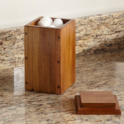 Teak Apothecary Box - Corral small bathroom necessities in the Teak Apothecary Box. Crafted of smooth, dark-brown teak, this box makes a handsome addition to a counter top.
