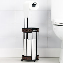 None - Oil-Rubbed Bronze Toilet Roll Reserve - Avoid an uncomfortable situation with this sleek black toilet roll reserve. Minimalist in appearance, this oil rubbed bronze basket-weave tissue holder can hold up to three toilet tissue rolls for easy bathroom access.