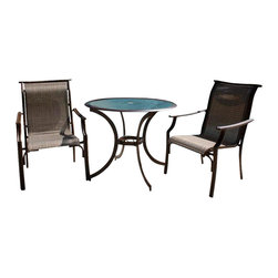 Hospitality Rattan - Chub Cay Patio 3 PC Dining Bistro Group in Dark Bronze Finish - Include: Two Armchairs and Round Table. Made of Extruded Aluminum Frame will not rust w Twitchel fiber. Finished in a powder coated Dark Bronze finish. Includes tempered hammered glass with umbrella hole. Weather and UV resistant. Sturdy aluminum legs for extra support. Matching seating group and barstool available. Arm chair: 23 in. W x 32 in. L x 37 in. H (11 lbs.). Bistro Table: 36 in. W x 36 in. L x 29 in. H (20 lbs.)This traditional Chub Cay collection incorporates a tubular extruded aluminum frame resembling bamboo that will not rust. A custom made Twitchel Sling fiber is used in place of cushions on the seating pieces. The Chub Cay arm chairs are not only very durable, but are also stackable for easy storage. The dining table tops are tempered glass and will accommodate an umbrella. The collection also features a special aluminum slatted top on the coffee table, and the end table which work for both the Chub Cay collection and the Coco Palm Outdoor Group.