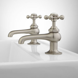 """Reproduction Cross-Handle Sink Faucets - This charming basin tap set features porcelain inset buttons reading """"H"""" and """"C"""", giving it a vintage feel. Made from solid brass, these faucet taps have quarter-turn ceramic disc valves for reliable, lasting use."""