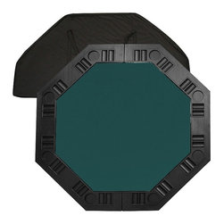 Trademark Global - 8 Player Octagonal Table Top - Comes with a handy carrying case and a molded handle on the table for easy pull-out. 37.25 in. diameter octagonal felt playing surface surrounded by molded plastic cup holders and chip tray perimeter. Pictured in dark green color. 48.5 in. L x 48.5 in. W x 0.63 in. H (18 lbs.)It is an 8 player position poker table complete with individual trays for poker chips and a drink holder. The best thing about this table top is its convenience. It is very easy to travel with as it fits into the trunk of a car or the back seat. It's not very heavy for travel but it is solid enough for durable use. Folding the table in half reduces the size to about 2 ft. x 4 ft. for easy storage in a closet or under a bed.