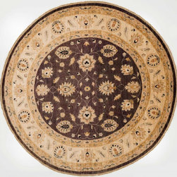 Rug Knots - Round Grey and Tan Chobi Ziegler Rug with Borders - Flowing floral designs cover this round Chobi Ziegler Rug. Vibrant colors bring this rug alive while the multiple borders stay true to the traditional Chobi Ziegler style. With its round shape, this type of Chobi Ziegler is a perfect fit for a foyer or under a table.