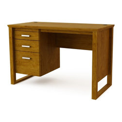 Ameriwood Industries Inc - Ameriwood Desk - Bank Alder Multicolor - 9298301PCOM - Shop for Folding Tables from Hayneedle.com! You can practically hear the clickety-clack of typewriters when you look at the Ameriwood Desk - Bank Alder thanks to its retro-mod design. Made of wood and wood veneers in a light-toned Bank Alder finish it features open legs a profiled top brushed nickel hardware and tons of vintage charm. Two storage drawers and one file drawer plus two grommets for cord management make it easy to get all that work done - even if you re on a laptop instead of a typewriter.About Ameriwood ProductsAmeriwood Industries is one of the leading manufacturers of wood products such as unassembled furniture stereo speaker cases and stereo component racks in the United States. For more than 30 years Ameriwood has helped furnish homes across North America with ready-to-assemble furniture. Crafted from engineered wood Ameriwood products are dense and durable for years of use.