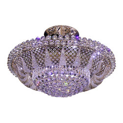 Royal Crystal Lighting - Royal Crystal Lighting Crystal Chandelier Led Lights, Chrome W/ Clear Crystal - Crystal Chandelie Flush Mount, With  LED lights