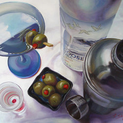 "Trisha Selgrath Fine Art - 3 Olive Martini, LE Giclee Print on Canvas - ""For me, 3 Olive Martini represents rising to the challenge of interpreting a variety of textures, shapes, and reflections successfully encompassed in an interesting composition. I enjoyed painting the brushed metal, frosted glass, sharp reflections in liquid, soft reflections on fabric, and the leathery look of olives. Each element presented a unique challenge to observe, learn and grow as an artist. Cheers!"" - Trisha Selgrath"