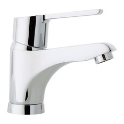 Ramon Soler - Single Hole Sink Faucet with Single Lever - If you are in need of a single handle (lever handle style), 1 hole washbasin faucet, why not consider this trendy bathroom sink faucet from the Ramon Soler Aquanova Fly collection? Perfect for more modern & contemporary settings, this luxury faucet is deck mount and coated in chrome. Made with quality brass in Spain by Ramon Soler. 2 flexible hoses 14 inch. Ceramic cartridge with Ecoplus water saving system. Possible activation of the Hotblock anti-scalding system.