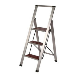 Richards Homewares - Wood & Aluminum Step Stool Ladder - 3 Steps - Our Wooden Stepstool Ladder is perfect for the closet or the butlers pantry. This slim-silhouette stepstool ladder has a modern, elegant design, is made of wood and brushed aluminum and is easy to tuck away.
