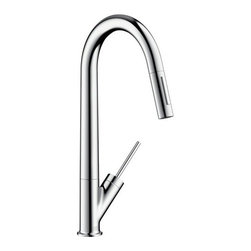 "Hansgrohe - Hansgrohe 10821001 Chrome Axor Starck Axor Starck Pull-Down Kitchen - Product Features:  All-brass faucet body and handle construction Fully covered under Hansgrohe s limited lifetime warranty Hansgrohe faucets are designed and engineered in Germany Superior finishing process - finishes will resist corrosion and tarnishing through everyday use Hansgrohe kitchen faucets offer the user a lifetime of luxurious operation Ergonomic pull-down with full and needle sprays Non-locking spray diverter MagFit magnetic sprayhead docking Spout swivels 150-degrees providing greater access to more areas of the sink High arch spout design provides optimal room under the faucet for any size task M2 ceramic cartridge for a lifetime of smooth operation ADA compliant - complies with the standards set forth by the Americans with Disabilities Act for kitchen faucets  Product Specifications:  Overall Height: 17-3/4"" (measured from counter top to highest part of faucet) Spout Height: 10-3/8"" (measured from counter top to spout outlet) Spout Reach: 9-1/4"" (measured from center of faucet base to center of spout outlet) Number of Holes Required for Installation: 1 Flow Rate: 2.2 GPM (gallons-per-minute) Maximum Deck Thickness: 2-3/4"" Designed for use with standard U.S. plumbing connections All hardware needed for mounting is included with faucet  Product Technologies and Benefits:  MagFit Magnetic Spray Head Docking:This innovative feature from Hansgrohe integrates a magnet into the docking connection of your pullout faucet spray head. When not in use it securely holds the faucet head in place, and with a light tug the faucet head is free and completely versatile once again. This solves the issue with the classic pullout"