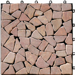 "HandyDeck - Interlocking Mosaic Deck Tiles - EzyTile 12"" x 12"" (6 Tiles per box), Pink - - can be used on their own or combined with other HandyDeck tiles to create attractive feature panels or infill areas."