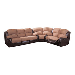 Coaster - Coaster Gulliver Microfiber and Vinyl Reclining Sectional in Mocha - Coaster - Sectionals - 600361S+L+WKIT - This reclining sectional's casual style gets an upgrade in the form of plush microfiber upholstered seats and a dark brown vinyl that wraps its arms and base. Padded microfiber in a warm mocha shade makes an eye catching contrast with the dark depths of the leather like base. Accent stitching further refines the richness of the microfiber upholstery on the sofa's seats and seat backs. A cozy corner wedge brings the dual reclining love seat and dual reclining sofa together and combines to offer comfortable seating for up to six. Take advantage of this reclining sectional's unique L shape when you tuck it in a corner or compact space or place in the center of a room to divide up an open floor plan.