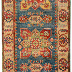 "ALRUG - Handmade Turquoise/Blue Oriental Kazak Runner 2' 7"" x 14' 8"" (ft) - This Afghan Kazak design rug is hand-knotted with Wool on Cotton."