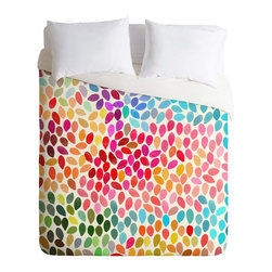 DENY Designs - DENY Designs Garima Dhawan Rain 6 Duvet Cover - Lightweight - Turn your basic, boring down comforter into the super stylish focal point of your bedroom. Our Lightweight Duvet is made from an ultra soft, lightweight woven polyester, ivory-colored top with a 100% polyester, ivory-colored bottom. They include a hidden zipper with interior corner ties to secure your comforter. It is comfy, fade-resistant, machine washable and custom printed for each and every customer. If you're looking for a heavier duvet option, be sure to check out our Luxe Duvets!