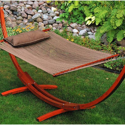 Algoma 12-Foot Wooden Arc Stand with Caribbean Hammock and Pillow - A hammock with a base is for the front yard that is very lacking in trees.