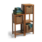 """Grandin Road - Teak Etagere - 46""""H - Étagères are crafted from sustainably harvested teak — naturally resistant to moisture. Filling them with our handy baskets (sold separately) doubles their organizational capabilities. Étagères feature slatted shelves. All pieces arrive assembled. Bring the spa experience home and create invaluable organization, simultaneously, with our Teak Étagères and PVC Wicker Basket.  .  .  .  ."""