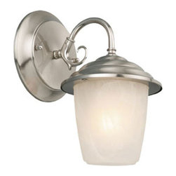 Design House - Millbridge Satin Nickel Outdoor Wall Mounted Light - Millbridge Outdoor Downlight greets your guests at the door with a soft, inviting glow. The satin nickel finish and alabaster glass add a traditional elegance to any decor. This sconce measures 5.5-inches (W) by 7.5-inches (H) and matches brick, stone, wood paneling or aluminum siding. This light uses a 60-watt medium base incandescent lamp and is rated for 120-volts. Subtle details and curved lines give your home great curb appeal. Illuminate a front porch or back deck with this modern-day lantern's bright finish and classic design. This uplight will stay bright in harsh weather conditions and is UL listed, cUL listed and approved for wet areas. The Design House 519496 Millbridge Outdoor Downlight comes with a 10-year limited warranty that protects against defects in materials and workmanship. Design House offers products in multiple home decor categories including lighting, ceiling fans, hardware and plumbing products. With years of hands-on experience, Design House understands every aspect of the home decor industry, and devotes itself to providing quality products across the home decor spectrum. Providing value to their customers, Design House uses industry leading merchandising solutions and innovative programs. Design House is committed to providing high quality products for your home improvement projects.  - Satin nickel finish and alabaster glass add a traditional elegance to any decor  - Measures 5.5-inches by 7.5-inches and matches brick, stone, wood paneling or aluminum siding  - Light uses a 60-watt medium base incandescent lamp and is rated for 120-volts  - UL listed, cUL listed and approved for wet areas  - Comes with a 10-year limited warranty  - 10 Year Limited Warranty Design House - 519496