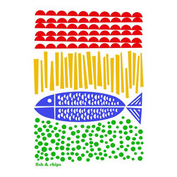"""Fish and Chips"" Artwork - Fancy some Fish & Chips by the seaside? Hand pulled silkscreen print from my original illustration, showing Britain's favourite dish: Fish & Chips! Although mine is a much more graphic representation of the classic dish with bright red ketchup, buttercup yellow chips, cobalt blue fish and emerald green (very dotty) mushy peas in true Mengsel style.  This print has a touch of Mid Century Modern and Scandinavian style to it and would be absolutely lovely in your kitchen. Edition consists of 220 prints, all signed, dated and numbered.  Paper size: A3 (42 cm H x 29.7 cm W - 15"" x 11"")  Print size: 28 cm H x 19 cm W - 9"" x 7"")  Print will be shipped in protective tissue paper in a secure mailer tube with the UK's Royal Mail. Approx delivery time UK: approx 2-3 working days. Rest of the world: approx 5-7 working days (International Airmail service)  Please note: Frame is not included, but Ikea's RIBA frames (30x40cm size) work very well with this design."