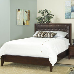 Home Image - Island Platform Bed - This low profile bed with Italian leather headboard features a bolt on rail system to add to the stability and strength of bed and support system. Features: -Island collection. -Warm and classic mocha finish. -Bolt on rail system. -Three slats with center support. -1 Year warranty.