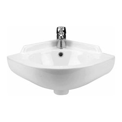 Renovators Supply - Corner Sinks White China Mountain Pond Corner Sink 20 1/2'' W - Renovator��_��__��_s Supply Corner Sinks. Mountain Pond Corner Sink tames your bathroom's tight spaces! Grade A vitreous china. Requires single hole faucet, sold separately.