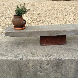 """Inspired Stones Gallery - A simple and elegant plant stand made from natural and tumbled bluestone and one iron """"I-beam"""" base. Well suited for indoor and outdoor settings."""