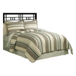 Pem America - East Hampton Twin Quilt with Pillow Sham - Horizontal stripes of browns, tans and blues. East Hampton brings a coastal touch to  your bedroom decor with a casual and comfortable style. 1 Twin Quilt (68x86 inches) and 1 standard pillow sham (20x26 inches). Yarn dyed, 100% cotton face cloth with 94% cotton / 6% other fiber fill. 100% Cotton solid color reverse. Machine washable.