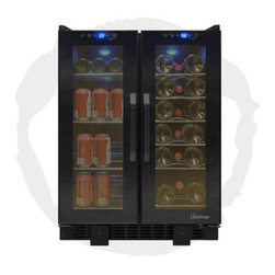 Vinotemp - Touch Screen Wine and Beverage Cooler - The VT-36TS is perfect for those who love to entertain. This sleek all-Black cooler can house up to 19 standard wine bottles on the right side and 58 12 oz. cans on the left side. Front exhaust allows this cooler to fit seamlessly into existing cabinetry, lending a modern touch to any room. Touch screen control panels located at the top of each door allow you to monitor the temperature as well as adjust the temperature as needed.