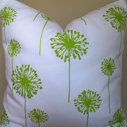 Decorative Pillow Cover/Reverse Lime by Linen and Oak - Handmade pillow covers from Etsy are a great way to add style and fresh pillows to your space. I love this with a bold and modern floral.