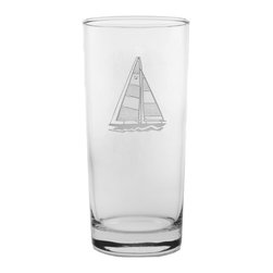 Rolf Glass - Sailboat Cooler 15oz, Set of 4 - Tall and long and lovely, this set of glasses won't disappoint. You can use them for everything from lemonade to Mai Tai's. Made from cut glass. A crisply etched sailboat, complete with racing number, lends a nautical feel.