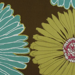 Floral - Large - Chocolate Upholstery Fabric - Item #1010827-103.