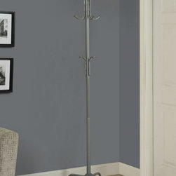Monarch Specialties - Monarch Specialties 70 Inch Metal Coat Rack in Silver - Let this sleek silver metal coat rack enhance your home with excellent functionality. There is plenty coat, hat, glove and umbrella storage with 2 tiers of hooks. A beautiful finial adds a touch of class to this fashionable coat rack.