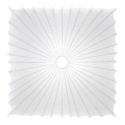 """Axo - Axo Muse UP 60Q Ceiling Light - The Muse UP 60Q Ceiling Light has been designed by Sandro Santantonio for Axo Lighting. Part of the Muse family, this fixture is composed of a white metal frame with a removable and washable fabric available in white that creates beautiful diffused light. Due to the E26 lamp base, a variety of bulbs can be used from Incandescent, Eco Halogen or CFL. We recommend using 2 x 14W E26 energy efficient CFL (not included).  Product Details:    The Muse UP 60Q Ceiling Light has been designed by Sandro Santantonio for Axo Lighting. Part of the Muse family, this fixture is composed of a white metal frame with a removable and washable fabric available in white that creates beautiful diffused light. Due to the E26 lamp base, a variety of bulbs can be used from Incandescent, Eco Halogen or CFL. We recommend using 2 x 14W E26 energy efficient CFL (not included).  Details:                         Manufacturer:             Axo                            Designer:                        Sandro Santantonio                                         Made in:                        Italy                                         Dimensions:                         Height: 5.5"""" (14 cm) X Width: 24"""" (60 cm) X Length: 24"""" (60 cm)                                         Light bulb:                         2 x 14W E26  CFL                                         Material:             Metal, Fabric"""