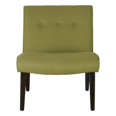 Safavieh - Mandell Chair - Sweet Pea Green - The retro-chic lines channeling the office chairs that made their way to living rooms across America in the 60's define the sweet pea green-upholstered Mandell accent chair. Trendy in its simplicity, Mandell features birch wood legs of the period in black finish, and is upholstered in a blend of linen, cotton and synthetic yarns for easy care.