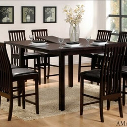 "Casa Blanca - 9-Piece Amanda Collection Espresso Finish Wood Counter Height Table Set - 9-Piece Amanda collection espresso finish wood counter height table set with vertical slatted back chairs. This set includes the table with butterfly leaf and 8 side chairs with leather like seats and vertical slatted backs. Table measures 60"" x 60"" (with 13"" Leaf) X 36"" H. Chairs measure 42"" H to the back. Some assembly required."