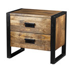 Artemano - Delia Night Table with 2 Drawers Made of Mango Wood - Textured and distinct mango wood is bracketed by black iron metal for the industrial design of the Delia Night Table With 2 Drawers. Handcrafted by skilled artisans and finished with a pair of deep, spacious drawers, this masculine side table looks great as a bedroom nightstand, an accent table in the living room or even in a home office.