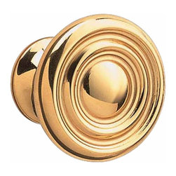 "Renovators Supply - Cabinet Knobs Bright Solid Brass Decorative Cabinet Knob Spooled | 20129 - Decorative Cabinet Hardware. This cabinet knob features an tasteful yet simple design that will accentuate any cabinet or drawer in your home. Knob projects 7/8""."