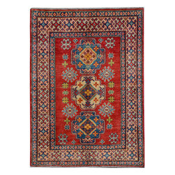 "ALRUG - Handmade Rust Oriental Kazak Rug 3' 3"" x 4' 7"" (ft) - This Afghan Kazak design rug is hand-knotted with Wool on Cotton."