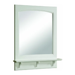 "DHI-Corp - Concord White Gloss Mirror with Shelf, 25.6"" by 4"" by 31"" - The Design House 539916 Concord White Gloss Mirror with Shelf features a durable white gloss finish and 4-inch shelf. Measuring 26.6-inches by 4-inches by 31-inches, this mirror features clean lines and is perfect for a relaxed country style home. Decorate your bathroom by adding candles, small vases or nick-knacks along the shelf. This small, sturdy shelf could also be used as extra storage for a toothbrush holder, lotions or soap. Easily apply makeup or shave in the morning with this large mirror. Modern construction meshes with subtle vintage details for an elegant addition to your bathroom. This product is perfect for remodeling your bathroom and can match a variety of vanities, countertops and furnishings. The Design House 539916 Concord White Gloss Mirror with Shelf has a 1-year limited warranty that protects against defects in materials and workmanship. Design House offers products in multiple home decor categories including lighting, ceiling fans, hardware and plumbing products. With years of hands-on experience, Design House understands every aspect of the home decor industry, and devotes itself to providing quality products across the home decor spectrum. Providing value to their customers, Design House uses industry leading merchandising solutions and innovative programs. Design House is committed to providing high quality products for your home improvement projects."