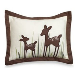 Kidsline - kidsline Willow Throw Pillow - Decorative pillow captures the sweetness and innocence of a mother deer and her fawn enjoying the forest and adds to the enchantment of the Willow crib bedding. 100% organic cotton with an all-polyester fill.