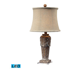 Dimond Lighting - Dimond Lighting Papillion Distressed Wood Tone Mini Lamp w/ Acrylic Base - LED O - Distressed Wood Tone Mini Lamp w/ Acrylic Base - LED Offering Up To 800 Lumens belongs to Papillion Collection by Dimond Lighting Lamp (1)