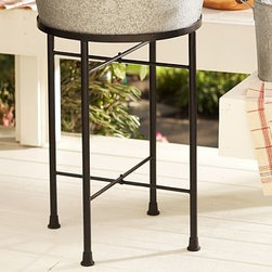 """Party Bucket/Round Tray Iron Stand - Keep your guests refreshed in farmhouse style. Our substantial party bucket is crafted from durable galvanized steel with solid wood handles and a bottle opener affixed to the side. Propped on our sturdy wrought-iron stand (sold separately), it ensures favorite beverages are always on hand. Bucket: 25.5"""" wide x 21"""" deep x 9.5"""" high Stand: 17"""" diameter, 23"""" high Made of galvanized iron. Detailed with carved wooden handles. Features a bottle opener. Bucket and stand are sold separatel."""