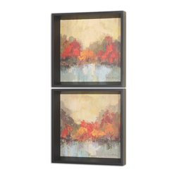 Uttermost - Fall Riverside Wall Art, Set of 2 - These colorful, earth tone oil reproductions feature a hand applied brushstroke finish. Narrow black satin frames surround each of the prints.