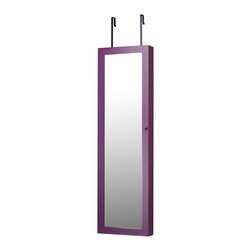 InnerSpace Luxury Products - InnerSpace Jewelry Armoire - Over-the-Door or Wall-Hang / Purple - InnerSpace Jewelry Armoire Collection in a Purple finish.  The Over-the-Door or Wall Hang Mirrored Armoire features a black felt interior, magnetized door clasp, silver finish hardware, three (3) large, compartmentalized trays, 24 hooks for bracelets and necklaces, slots for up to 50 dangling and studded earrings, and compression folds for up to 84 rings.  A front-facing, full-length mirrored cabinet opens to reveal your entire collection, easily accessible and brilliantly displayed. Keep your jewelry organized and out of sight; avoid frantic searches through a mess of tangled necklaces and endless sorting to find a matching pair of earrings.  All mounting hardware is included, giving you the option to hang the armoire from the wall or over any door. Closed armoire is 14L x 3.5W x 47H.  One Year Manufacturer Limited Warranty.