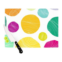 """Kess InHouse - Anchobee """"Eolo"""" Multicolor Circles Cutting Board (11.5"""" x 15.75"""") - These sturdy tempered glass cutting boards will make everything you chop look like a Dutch painting. Perfect the art of cooking with your KESS InHouse unique art cutting board. Go for patterns or painted, either way this non-skid, dishwasher safe cutting board is perfect for preparing any artistic dinner or serving. Cut, chop, serve or frame, all of these unique cutting boards are gorgeous."""