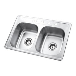Kingston Brass - Double Bowl Self-Rimming Kitchen Sink - The double bowl self-rimming kitchen sink features two Large symmetrical basins, pre-drilled in a four hole configuration. The wide space and depth of the two basins allows ample space for washing and draining your pots and pans and makes washing pots and pans and preparing food an easy task. The kitchen sink is made of high quality stainless steel and is fully protected by a heavy-duty sound deadening pad to minimize noise while washing your dishes in the sink. Available in a variety of finishes for improving your decor.; Long-lasting and easy to clean; Includes a sound-deadening pad and full undercoating for sound absorption.; 20-gauge thickness with 4 pre-drilled faucet holes; Exposed surfaces are hand-polished to a lustrous brushed nickel finish; Double bowl design; Material: Stainless Steel; Finish: Brushed Nickel; Collection: Gourmetier