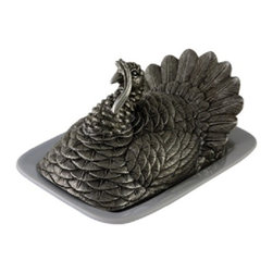 Vagabond House - Pewter Turkey Butter Dish - The Turkey Butter Dish presents an elegant pewter interpretation of a male turkey in full plumage. This heirloom quality piece is cast with magnificent detail in pure pewter and hand-finished. The figural Tom Turkey cover rests on a sturdy stoneware plate